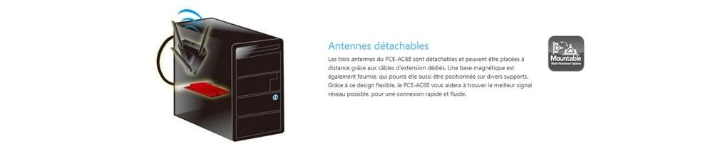 asus pce-ac68 antennes