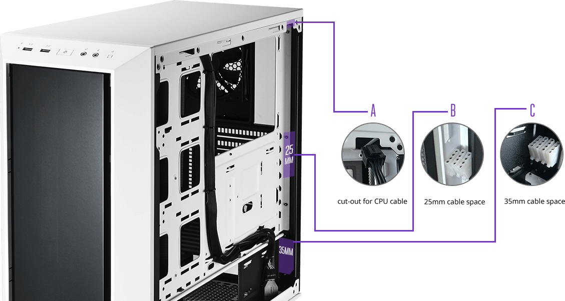 boitier cooler master masterbox 5 blanc clean cabling