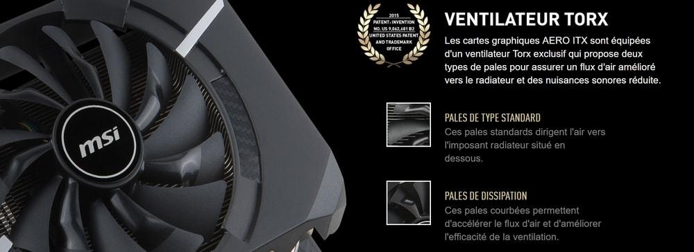 cgu msi geforce gtx 1070 aero itx 8go oc ventilateur