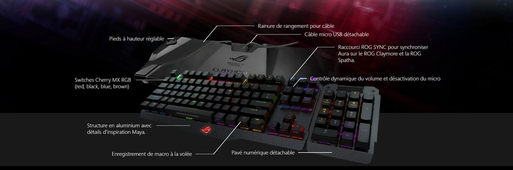 clavier asus rog claymore rgb options