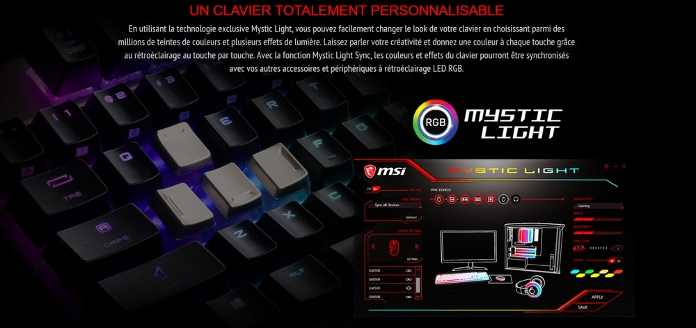 clavier msi vigor gk70 cr mystic light