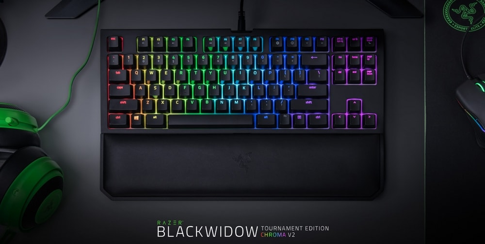 clavier razer blackwidow tournament edition chroma v2 touches verts banner