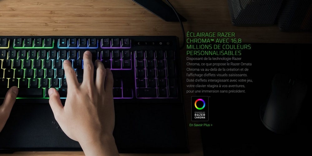 clavier razer ornata eclairage