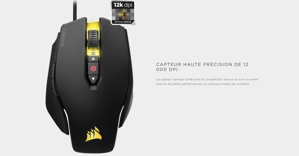 souris corsair gaming m65 pro rgb capteur