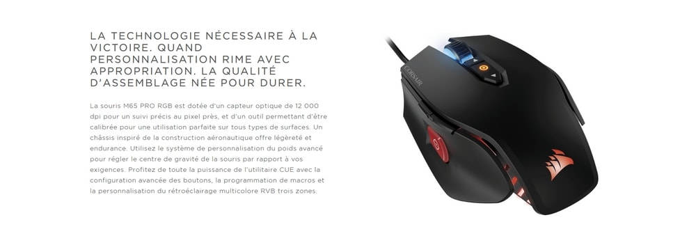 souris corsair gaming m65 pro rgb technologie
