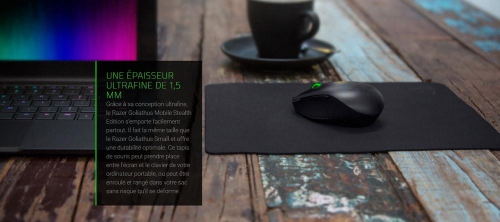 tapis de souris razer goliathus mobile stealth edition epaisseur