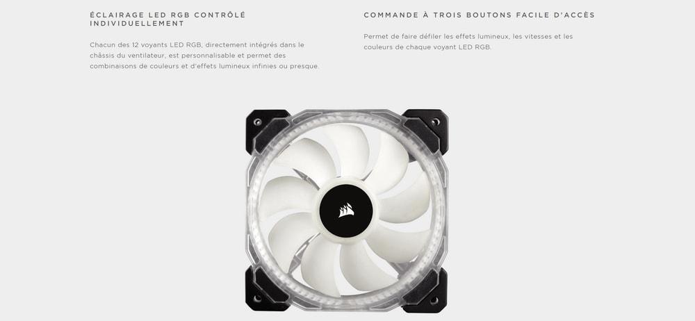 ventilateur corsair hd120 rgb led high performance eclairage