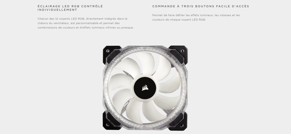 ventilateur corsair hd120 rgb led high performance triple pack eclairage