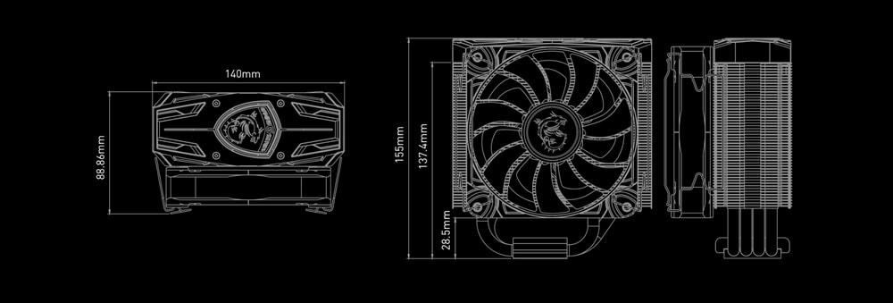 ventirad msi core frozr l dimensions
