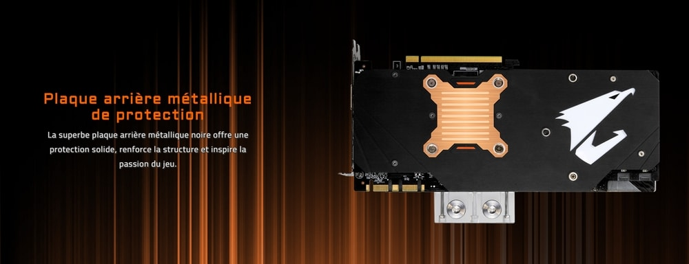 cgu gigabyte aorus geforce gtx 1080 ti waterforce 11go wb xtreme edition plaque arriere