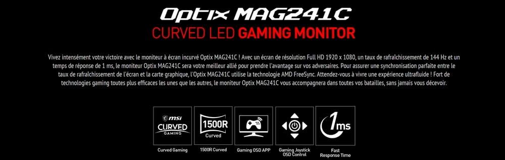 ecran msi 24 led optix mag241c caracteristiques